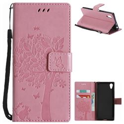 Embossing Butterfly Tree Leather Wallet Case for Sony Xperia XA1 - Pink