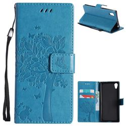 Embossing Butterfly Tree Leather Wallet Case for Sony Xperia XA1 - Blue