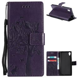 Embossing Butterfly Tree Leather Wallet Case for Sony Xperia XA1 - Purple
