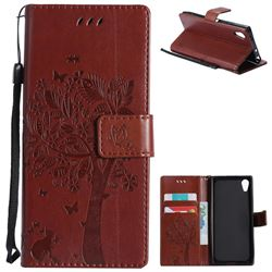 Embossing Butterfly Tree Leather Wallet Case for Sony Xperia XA1 - Brown