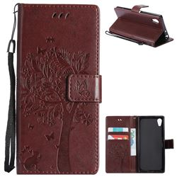 Embossing Butterfly Tree Leather Wallet Case for Sony Xperia XA1 - Coffee