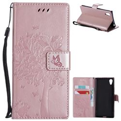Embossing Butterfly Tree Leather Wallet Case for Sony Xperia XA1 - Rose Pink