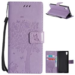 Embossing Butterfly Tree Leather Wallet Case for Sony Xperia XA1 - Violet