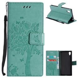 Embossing Butterfly Tree Leather Wallet Case for Sony Xperia XA1 - Cyan