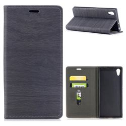 Tree Bark Pattern Automatic suction Leather Wallet Case for Sony Xperia XA1 - Gray