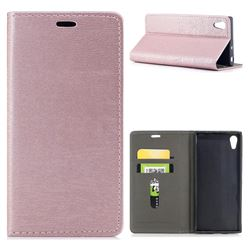 Tree Bark Pattern Automatic suction Leather Wallet Case for Sony Xperia XA1 - Rose Gold