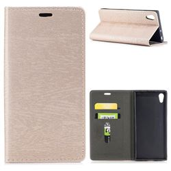 Tree Bark Pattern Automatic suction Leather Wallet Case for Sony Xperia XA1 - Champagne Gold