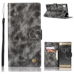 Luxury Retro Leather Wallet Case for Sony Xperia XA1 - Gray