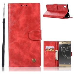 Luxury Retro Leather Wallet Case for Sony Xperia XA1 - Red