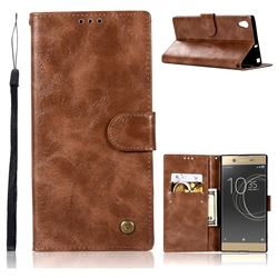 Luxury Retro Leather Wallet Case for Sony Xperia XA1 - Brown