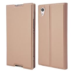 Ultra Slim Card Magnetic Automatic Suction Leather Wallet Case for Sony Xperia XA1 - Rose Gold