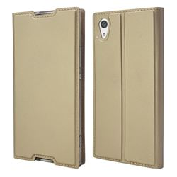 Ultra Slim Card Magnetic Automatic Suction Leather Wallet Case for Sony Xperia XA1 - Champagne