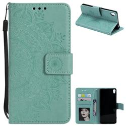Intricate Embossing Datura Leather Wallet Case for Sony Xperia XA1 - Mint Green