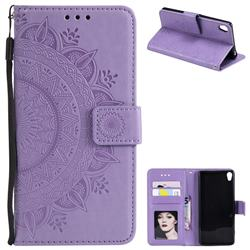 Intricate Embossing Datura Leather Wallet Case for Sony Xperia XA1 - Purple