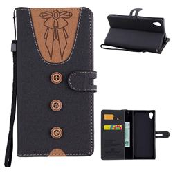 Ladies Bow Clothes Pattern Leather Wallet Phone Case for Sony Xperia XA1 - Black