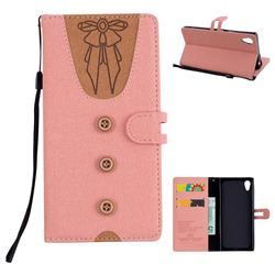 Ladies Bow Clothes Pattern Leather Wallet Phone Case for Sony Xperia XA1 - Pink