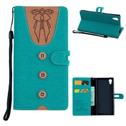 Ladies Bow Clothes Pattern Leather Wallet Phone Case for Sony Xperia XA1 - Green