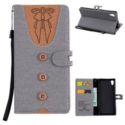 Ladies Bow Clothes Pattern Leather Wallet Phone Case for Sony Xperia XA1 - Gray