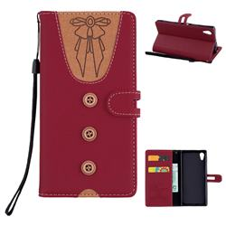Ladies Bow Clothes Pattern Leather Wallet Phone Case for Sony Xperia XA1 - Red