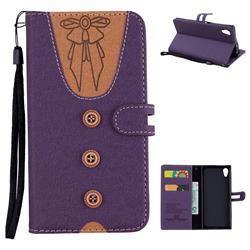Ladies Bow Clothes Pattern Leather Wallet Phone Case for Sony Xperia XA1 - Purple