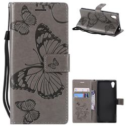 Embossing 3D Butterfly Leather Wallet Case for Sony Xperia XA1 - Gray