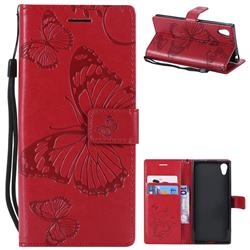 Embossing 3D Butterfly Leather Wallet Case for Sony Xperia XA1 - Red