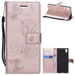 Embossing 3D Butterfly Leather Wallet Case for Sony Xperia XA1 - Rose Gold