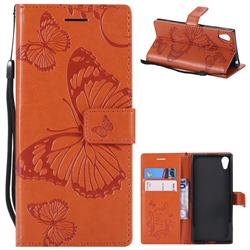 Embossing 3D Butterfly Leather Wallet Case for Sony Xperia XA1 - Orange