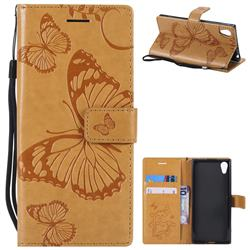 Embossing 3D Butterfly Leather Wallet Case for Sony Xperia XA1 - Yellow