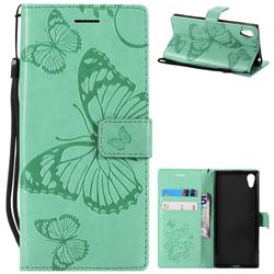 Embossing 3D Butterfly Leather Wallet Case for Sony Xperia XA1 - Green