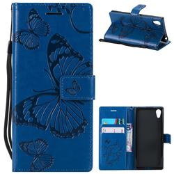 Embossing 3D Butterfly Leather Wallet Case for Sony Xperia XA1 - Blue