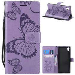 Embossing 3D Butterfly Leather Wallet Case for Sony Xperia XA1 - Purple