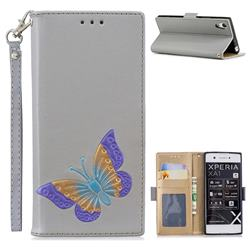 Imprint Embossing Butterfly Leather Wallet Case for Sony Xperia XA1 - Grey