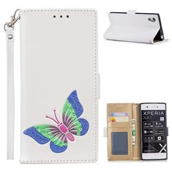 Imprint Embossing Butterfly Leather Wallet Case for Sony Xperia XA1 - White