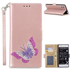 Imprint Embossing Butterfly Leather Wallet Case for Sony Xperia XA1 - Rose Gold