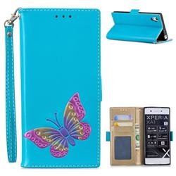 Imprint Embossing Butterfly Leather Wallet Case for Sony Xperia XA1 - Sky Blue