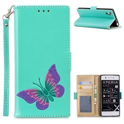 Imprint Embossing Butterfly Leather Wallet Case for Sony Xperia XA1 - Mint Green