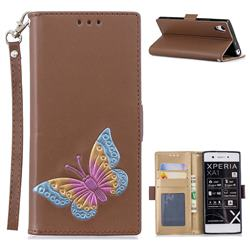 Imprint Embossing Butterfly Leather Wallet Case for Sony Xperia XA1 - Brown