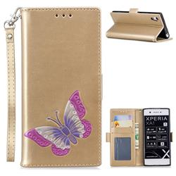 Imprint Embossing Butterfly Leather Wallet Case for Sony Xperia XA1 - Golden