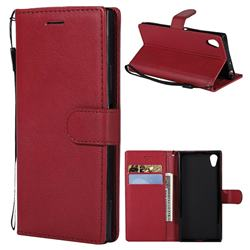 Retro Greek Classic Smooth PU Leather Wallet Phone Case for Sony Xperia XA1 - Red