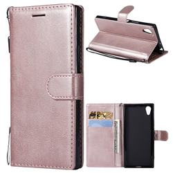 Retro Greek Classic Smooth PU Leather Wallet Phone Case for Sony Xperia XA1 - Rose Gold