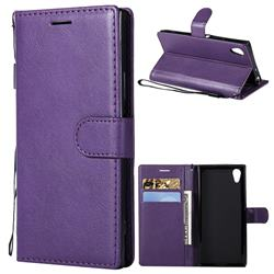 Retro Greek Classic Smooth PU Leather Wallet Phone Case for Sony Xperia XA1 - Purple