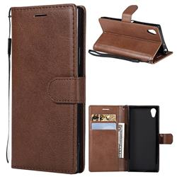 Retro Greek Classic Smooth PU Leather Wallet Phone Case for Sony Xperia XA1 - Brown