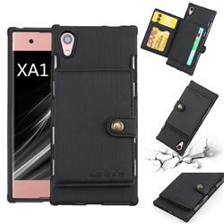 Brush Multi-function Leather Phone Case for Sony Xperia XA1 - Black