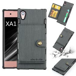 Brush Multi-function Leather Phone Case for Sony Xperia XA1 - Gray