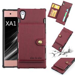 Brush Multi-function Leather Phone Case for Sony Xperia XA1 - Wine Red