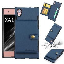 Brush Multi-function Leather Phone Case for Sony Xperia XA1 - Blue