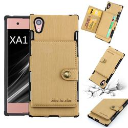 Brush Multi-function Leather Phone Case for Sony Xperia XA1 - Golden