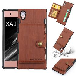 Brush Multi-function Leather Phone Case for Sony Xperia XA1 - Brown