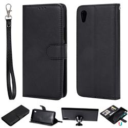 Retro Greek Detachable Magnetic PU Leather Wallet Phone Case for Sony Xperia XA1 - Black